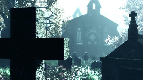 Cemetery Autumn 3D render Animation