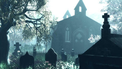 Cemetery Autumn 3D render Stock Video Footage