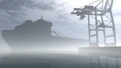 Industrial Port Sunset Sunrise 3D render Stock Video Footage