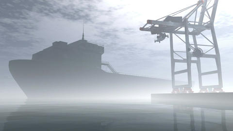 Industrial Port Sunset Sunrise 3D render Stock Video Footage
