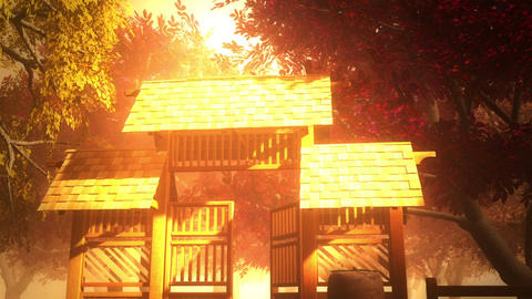 Japanese Garden and House 4 Stock Video Footage