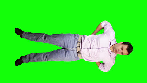 Men Back Pain Full Body Greenscreen 4 Stock Video Footage