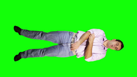 Men Elbow Pain Full Body Greenscreen 1 Stock Video Footage