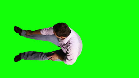 Men Knee Pain Full Body Greenscreen 7 Footage