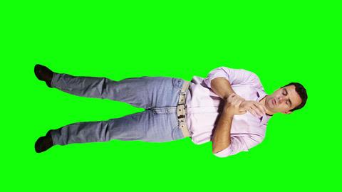 Men Wrist Pain Full Body Greenscreen 3 Stock Video Footage