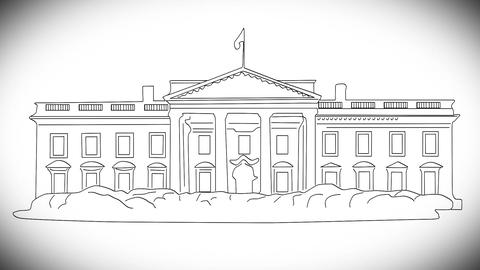 White House 02 handdraw Stock Video Footage