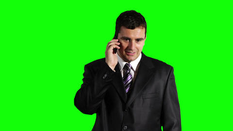 Young Businessman Cell Phone Angry Greenscreen 22 Stock Video Footage