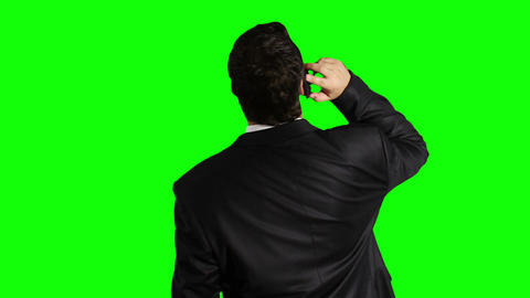 Young Businessman Cell Phone Looking Up Greenscreen 32 Stock Video Footage