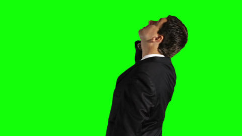 Young Businessman Cell Phone Looking Up Greenscreen 32 Footage