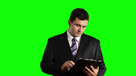 Young Businessman Checking Bad Contract Greenscreen 28 Stock Video Footage