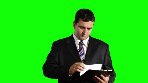 Young Businessman Checking Bad Contract Greenscreen 28 Footage