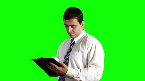 Young Businessman Checking Contract Greenscreen 5 Stock Video Footage