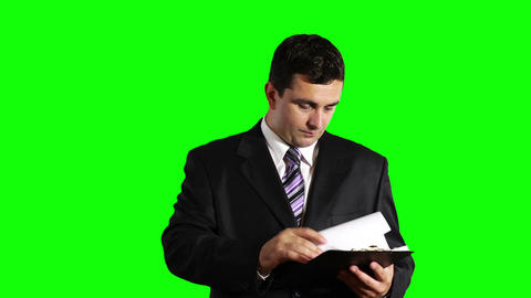 Young Businessman Checking Contract Greenscreen 27 Footage