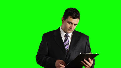 Young Businessman Checking Contract Greenscreen 27 Stock Video Footage