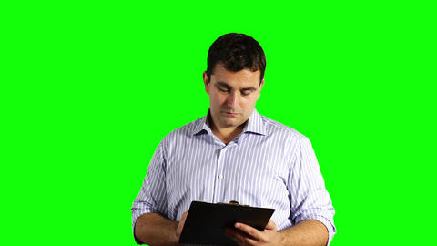 Young Businessman Checking Contract Greenscreen 47 Stock Video Footage
