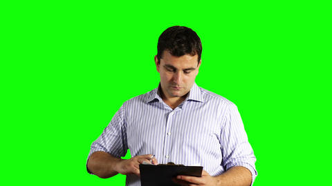 Young Businessman Checking Contract Greenscreen 47 Footage