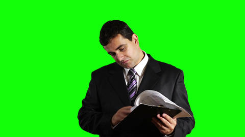 Young Businessman Checking Good Contract Greenscreen 29 Footage