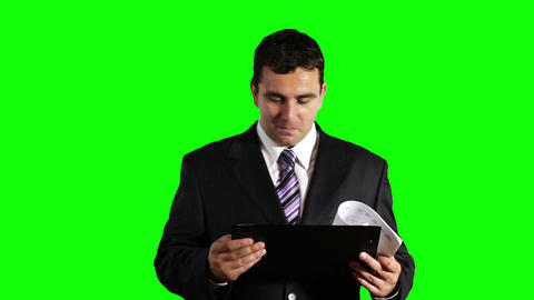 Young Businessman Checking Good Contract Greenscreen 29 Stock Video Footage