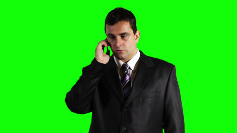 Young Businessman Getting Bad News Cell Phone Greenscreen 24 Stock Video Footage