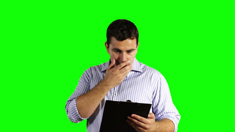 Young Businessman Getting Terrible News Greenscreen 51 Stock Video Footage