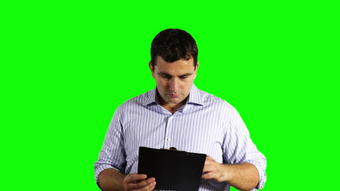 Young Businessman Getting Terrible News Greenscreen 51 Footage