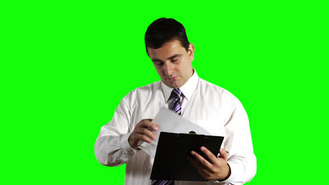 Young Businessman Happy with Contract Greenscreen 10 Footage