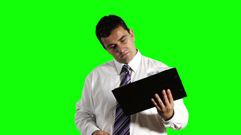 Young Businessman Happy with Contract Greenscreen 10 Stock Video Footage