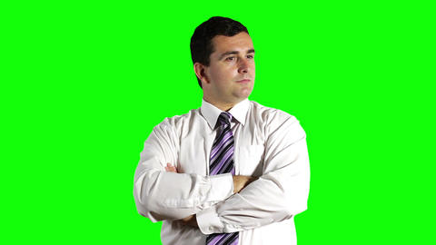 Young Businessman Looking Around Greenscreen 1 Stock Video Footage