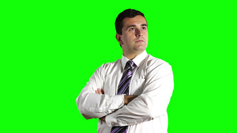 Young Businessman Looking Around Greenscreen 1 Footage
