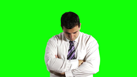 Young Businessman Looking Up Greenscreen 3 Stock Video Footage