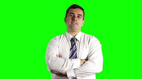 Young Businessman Looking Up Greenscreen 3 Footage
