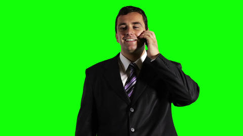 Young Businessman Mobile Phone Good News Greenscreen 26 stock footage