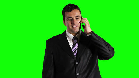 Young Businessman Mobile Phone Good News Greenscreen 26 Stock Video Footage