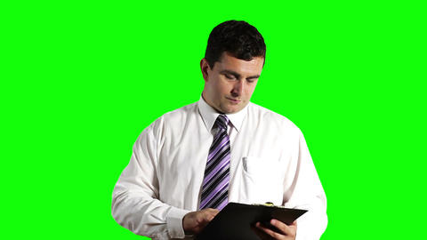 Young Businessman Signs Contract Greenscreen 19 Stock Video Footage