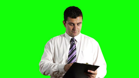 Young Businessman Signs Contract Greenscreen 19 Footage