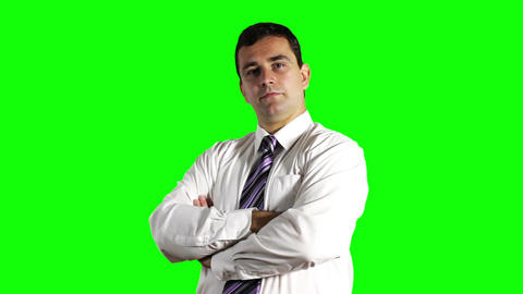 Young Businessman Smiling Greenscreen 2 Stock Video Footage