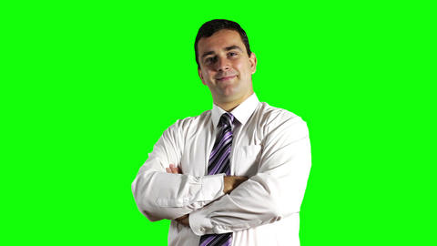 Young Businessman Smiling Greenscreen 2 Footage