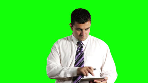 Young Businessman Tablet PC and Cell Phone Greenscreen 13 Stock Video Footage