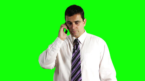 Young Businessman Tablet PC and Cell Phone Greenscreen 15 Stock Video Footage