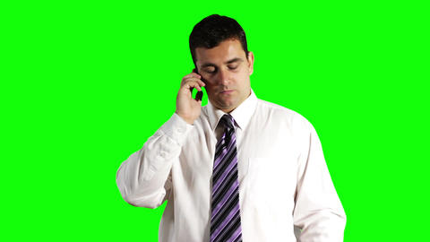 Young Businessman Tablet PC and Cell Phone Greenscreen 15 Footage