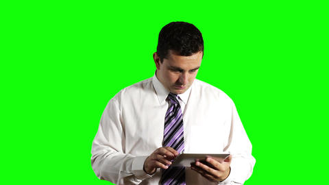 Young Businessman Tablet PC Getting Bad News Greenscreen 3 Footage
