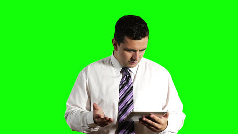 Young Businessman Tablet PC Getting Bad News Greenscreen 3 Stock Video Footage