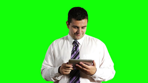 Young Businessman Tablet PC Getting Good News Greenscreen 2 Stock Video Footage