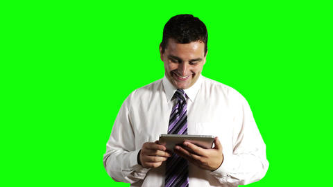 Young Businessman Tablet PC Getting Good News Greenscreen 2 Footage