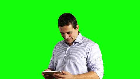 Young Businessman Tablet PC Good News Greenscreen 40 Footage
