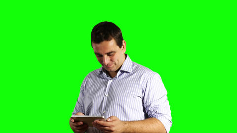 Young Businessman Tablet PC Good News Greenscreen 40 Stock Video Footage