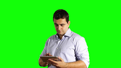 Young Businessman Tablet PC Greenscreen 39 Stock Video Footage