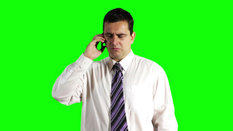 Young Businessman Talking on Cell Phone Greenscreen 8 Stock Video Footage