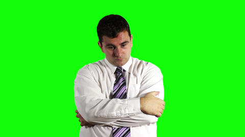 Young Businessman Thinking Getting Idea Greenscreen 18 Stock Video Footage