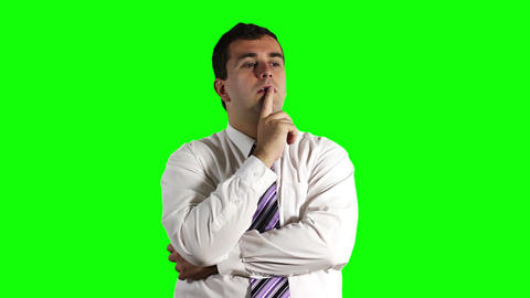 Young Businessman Thinking Getting Idea Greenscreen 18 Footage